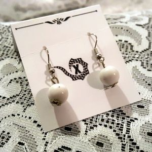 White & Silver Artisan Drop Earrings
